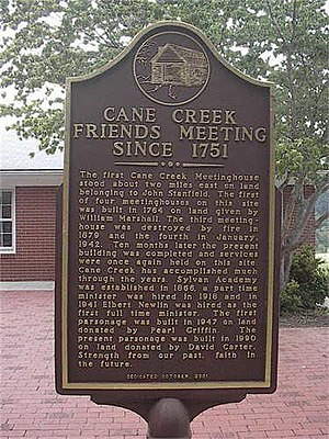 Cane Creek Friends Meeting - Quaker Minister Abigail Pike at the Cane Creek Meeting Place, NC in 1751