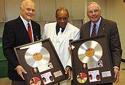 Quincy Jones, John Glenn, and Neil Armstrong during NASA's 50th anniversary gala