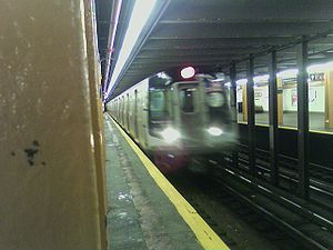 An R160A at Nostrand Avenue during testing on the A in autumn 2006.
