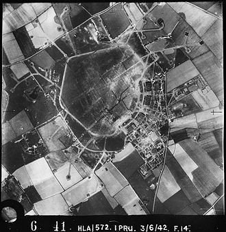 RAF Cottesmore - Aerial photograph of RAF Cottesmore looking north east, the technical site with four C-Type hangars is on the right, 3 Jun 1942.