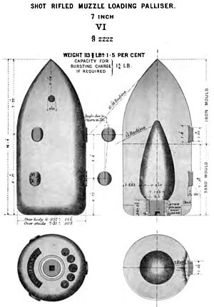 Palliser shot and shell - Image: RML 7 inch Palliser shot Mk VI diagram