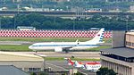 ROCAF Boeing 737-800 Passing Over Hangar of Songshan AFB 20120707.jpg