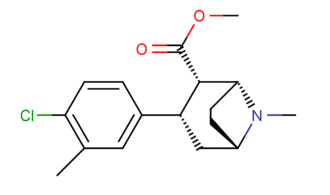 Substituted phenylmorpholine - c.f. the phenyltropane class of compounds when the tropane is drawn in a manner resembling other than the boat formation.