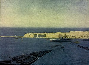 Fort Ricasoli - Painting of Fort Ricasoli in the early 20th century