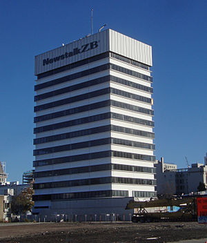 Implosion of Radio Network House - Radio Network House in June 2012, displaying the Newstalk ZB logo