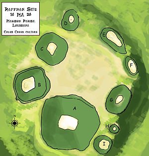 Raffman Site - Diagram showing the arrangement of plaza and platform mounds at site