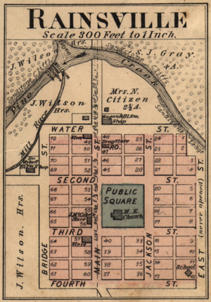 Rainsville, Indiana - Image: Rainsville Indiana map from 1877 atlas