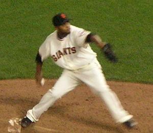 Ramón Ramírez (Dominican pitcher) - Ramírez throwing a pitch