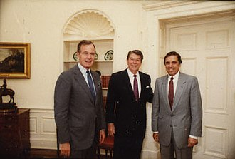 Bob Martinez - Martinez with Ronald Reagan and George H. W. Bush in 1983