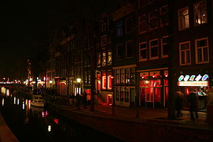 Brothel - The red light district De Wallen in Amsterdam