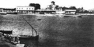 Un ferry-boat in partenza dal porto di Reggio Calabria verso la fine del XIX secolo.