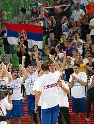 2011 Ex-Yu Cup - Serbia celebrating victory over Croatia in finals.