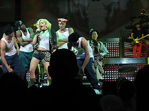 "Harajuku Lovers Tour - Stefani and her dancers performing ""Rich Girl""."
