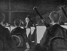 Strauss dirigiert in der Semperoper, Reproduktion eines Gemäldes von Ernst Oppler, um 1929 (Quelle: Wikimedia)