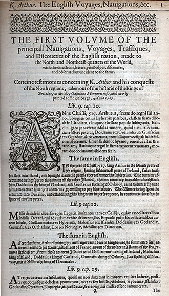 Richard Hakluyt - The first page of volume 1 of the expanded edition of Hakluyt's The Principal Navigations, Voiages, Traffiques and Discoueries of the English Nation (1598)