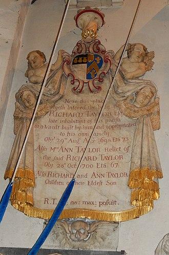 St Nicholas Church, Chiswick - Richard Taylor memorial 1698