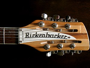 Rickenbacker - The typical 12-string headstock, with the slotted tuners for the octave strings.