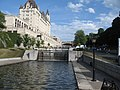 Rideau Canal Ottawa Locks near middle looking up.jpg