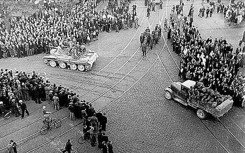 Red Army BT-7 tank and ZIS-5 truck in Riga (1940) Riga 1940 Soviet Army.jpg