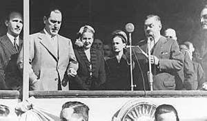 Secretariat of Intelligence - First public director of intelligence Rodolfo Freude (far left), with Juan Perón and Eva Perón.