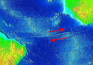 Romanche Trench - The Romanche Trench with red arrows indicating directions of movements of tectonic plates