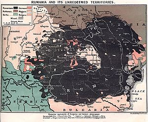 Romania - A 1917 British map showing territories with majority Romanian populations.