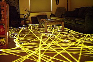 Roomba - Long exposure photo showing path taken by a Roomba as it cleans