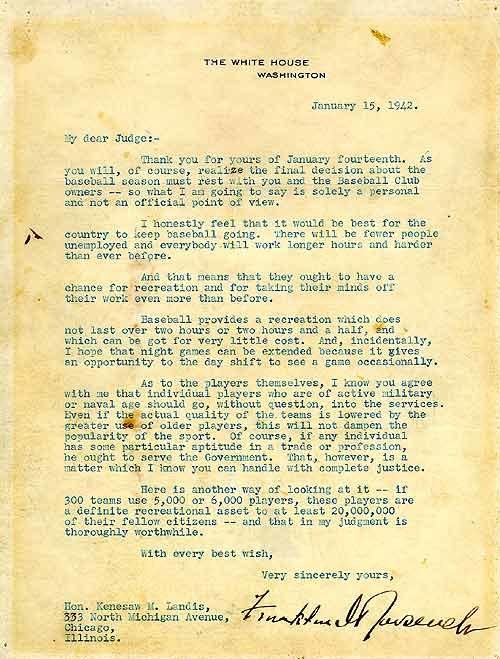 Roosevelt letter to Landis