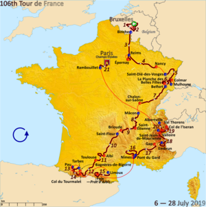 Calendario Tour De France 2019.Tour De France De 2019 Wikipedia A Enciclopedia Livre