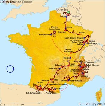 Kaart van Frankrijk met het parcours van de Tour de France 2019