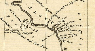 Fort Smith, Northwest Territories - John Franklin's 1819–1820 expedition map showing Slave River, Salt River and portages