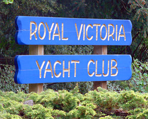Royal Victoria Yacht Club - Sign at the entrance to the Royal Victoria Yacht Club in Victoria, British Columbia.