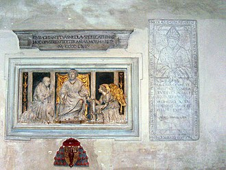 "Nicholas of Cusa - Tomb in S.Pietro in Vincoli, Rome, with the relief ""Cardinal Nicholas before St Peter"" by Andrea Bregno"
