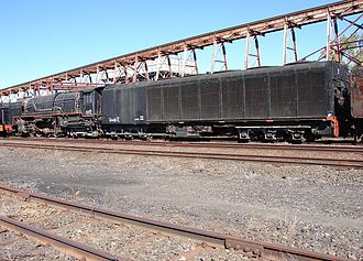 Condensing steam locomotive - South African Class 25 Note the extremely large tender, with side louvres to cool the condensers