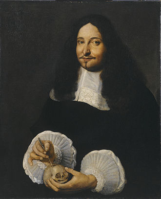Marcello Malpighi - Portrait of Marcello Malpighi pointing to the fontanelle of a baby's skull, by an unknown painter