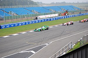Beijing Guoan (Superleague Formula team) - Davide Rigon leading cars during the 2008 Donington weekend.