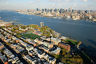 Stevens Institute of Technology - The Stevens Institute of Technology campus, facing the Hudson River and Manhattan's skyscrapers