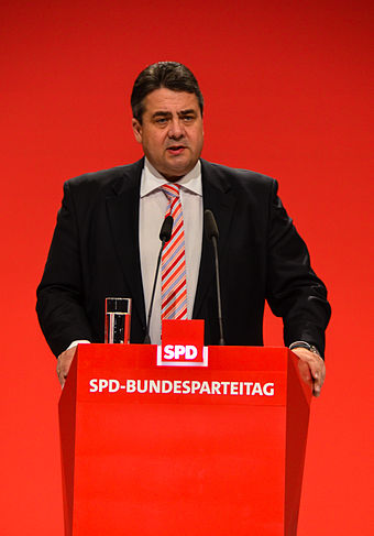 Sigmar Gabriel, Vice Chancellor of Germany (2013-2018) and former chairman of the SPD SPD Bundesparteitag Leipzig 2013 by Moritz Kosinsky 021.jpg