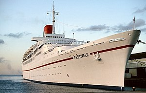 RMS Transvaal Castle - Image: SS Festivale in Barbados 1987 02 26