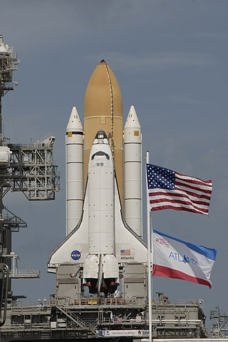 STS-129 - Atlantis at pad 39A after being rolled out from the VAB on October 14, 2009.