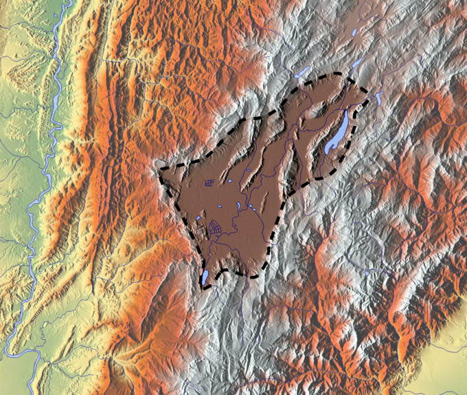 The Bogota savanna is the high plateau in the Andes where Bogota is located. The flatlands are clearly visible in the topography and the result of a Pleistocene lake; Lake Humboldt, that existed until around 30,000 years BP Sabana de Bogota.png