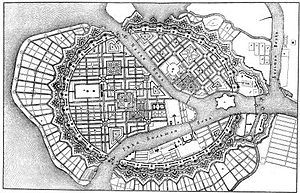 "Jean-Baptiste Alexandre Le Blond - Le Blond's master plan for St. Petersburg has been known as ""a plan conceived by a gardener""."