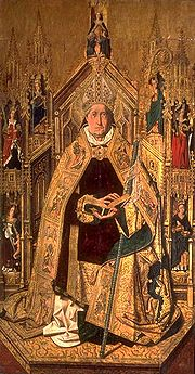 St. Dominic of Silos enthroned as abbot (Hispano-Flemish Gothic 15th Century)