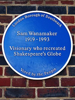 Sam wanamaker blue plaque