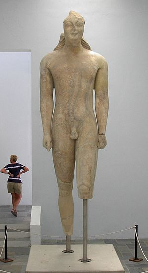 History of Samos - Kouros of Samos, the largest surviving Kouros in Greece, showing Egyptian influence (Archaeological Museum of Samos).