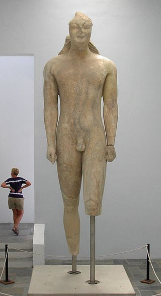 Kouros of Samos, the largest surviving Kouros in Greece, showing Egyptian influence (Archaeological Museum of Samos). Samoskouros.JPG