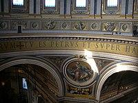 Inscripción en la cúpula. Basílica de San Pedro Vaticano