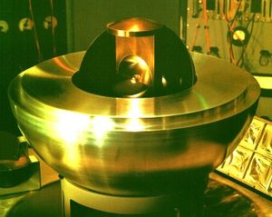 Critical Assembly - Jim Sanborn's 2003 re-creation, Critical Assembly. The bottom hemisphere of the pusher, with pieces of the boron shell, tamper, pit, and urchin.