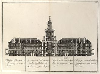 Great Northern Expedition - Contemporary depiction of the main building of the Russian Academy of Sciences in Saint Petersburg. Plate entitled Cross-section of the imperial library and art room towards morning, taken from a series of twelve etchings published in 1741. They were the first collaborative work from the workshops of the St. Petersburg academy.