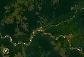 Sankuru River (upper right) entering Kasai River, seen from space.